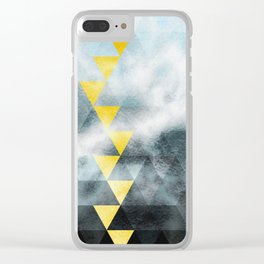 Grey and blue triangles pattern Clear iPhone Case