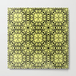 Black fishnet pattern on a bright yellow background Metal Print