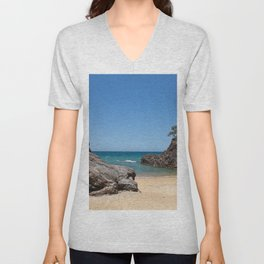 Tropical beach with rock Unisex V-Neck