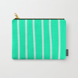 Mint Vertical Brush Strokes Carry-All Pouch
