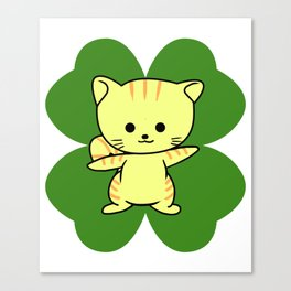 Cat On Four Leaf Clover - St. Patricks Day Funny Canvas Print