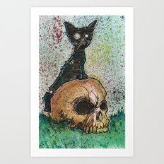 Black Cat with a Skull Art Print