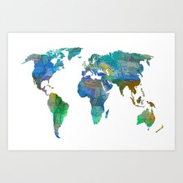 Blue World Transparent Map Art Print