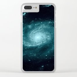 Spiral gALAxy Teal Clear iPhone Case