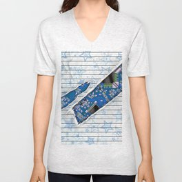 Stationary Scratch with Circuit Board Unisex V-Neck