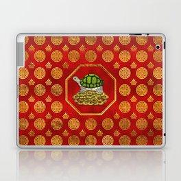 Golden Tortoise / Turtle Feng Shui on red Laptop & iPad Skin