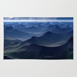 High mountains in the night light Rug