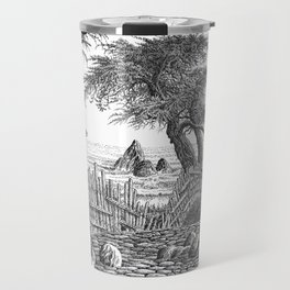 COASTAL CYPRESS TREES VINTAGE PEN DRAWING Travel Mug