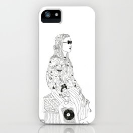 girl with record plastic bag iPhone Case