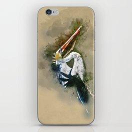 Watercolor Brown Pelican iPhone Skin