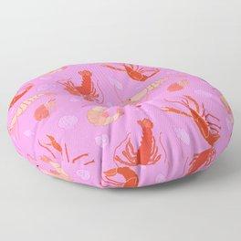 Dance of the Crustaceans in Conch Pink Floor Pillow