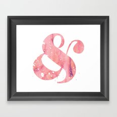 Pink Watercolor Ampersand Framed Art Print