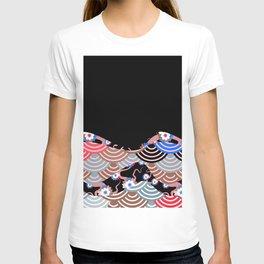 Nature background with japanese sakura flower Cherry, black wave circle pattern T-shirt