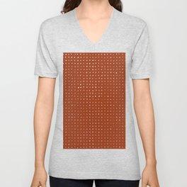Light grey dots on rust Unisex V-Neck