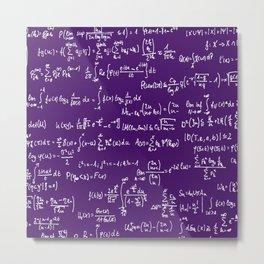 Math Equations // Purple Metal Print