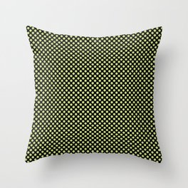 Black and Daiquiri Green Polka Dots Throw Pillow