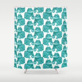 Chinese Guardian Lion Statues in Emerald Jade Shower Curtain