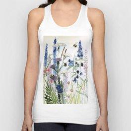 Wildflower in Garden Watercolor Flower Illustration Painting Unisex Tank Top