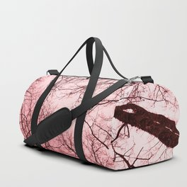 Naked trees tops, pink sky Duffle Bag