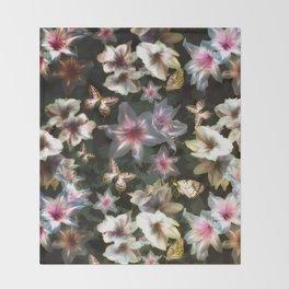 Amaryllis and Butterflies Throw Blanket