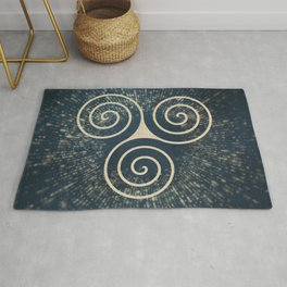 Triskelion Golden Three Spiral Celtic Symbol Rug