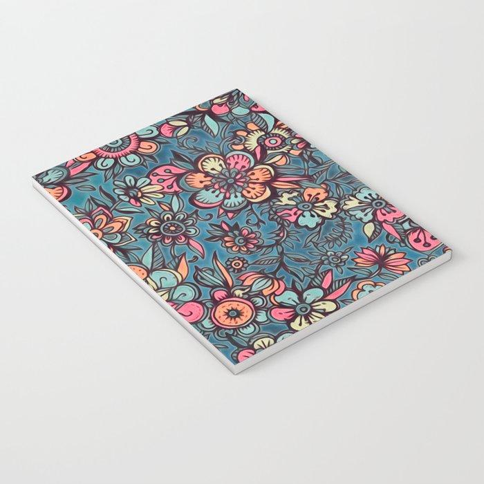 Sweet Spring Floral - melon pink, butterscotch & teal Notebook