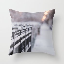 Snow Day in the City Throw Pillow