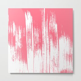 Modern coral white watercolor brushstrokes pattern Metal Print