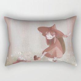 Little Forest Witch - Brown Rectangular Pillow