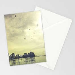 Birds take over the sunset Stationery Cards