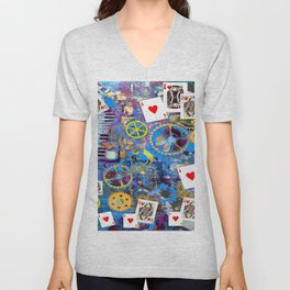 BLUE BOHEMIAN STEAMPUNK MUSICAL CARDS GAME Unisex V-Neck