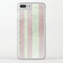 Pastel vintage green faux rose gold elegant stripes Clear iPhone Case