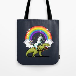 Unicorn ride dino Tote Bag