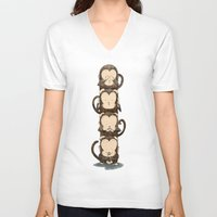 totem V-neck T-shirts featuring totem by Caramela