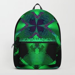 Spinning Wheel Hubcap in Green Backpack