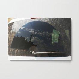 City Reflection on Glass Metal Print