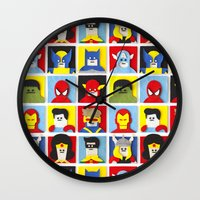 heroes Wall Clocks featuring Felt Heroes by Jacopo Rosati