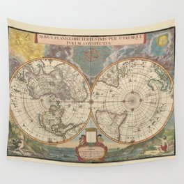 1672 World Polar Projection Map  Wall Tapestry