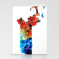 patriots Stationery Cards featuring Massachusetts - Map Counties By Sharon Cummings by Sharon Cummings