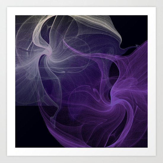 Fractal Abstract Dark Purple Art Print