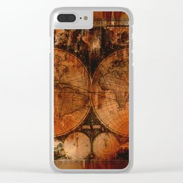 Rustic Old World Map Clear iPhone Case