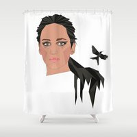jennifer lawrence Shower Curtains featuring jennifer lawrence by Karen Rós