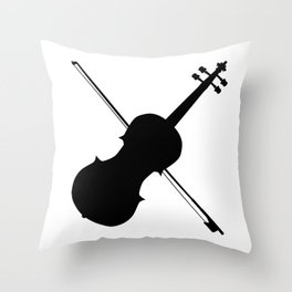 Fiddle Silhouette Throw Pillow