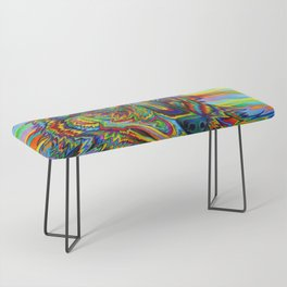 Colorful Psychedelic Rainbow Wolf Bench