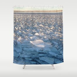 Watercolor Ice 16, Iceflow Lake Shower Curtain