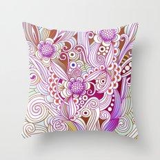 zentangle inspired Flower fire doodle, purple colorway Throw Pillow