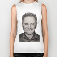 robin williams Biker Tanks featuring Robin Williams by Lindsay Hall
