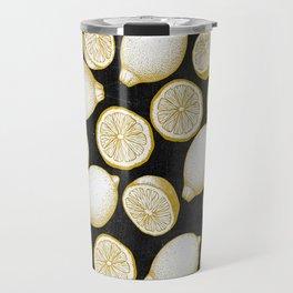 Lemons on black background Travel Mug