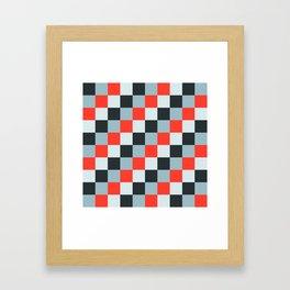 Stainless steel knife - Pixel patten in light gray , light blue and red Framed Art Print