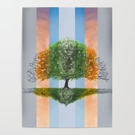 Digital painting of the seasons of the year in a tree Poster